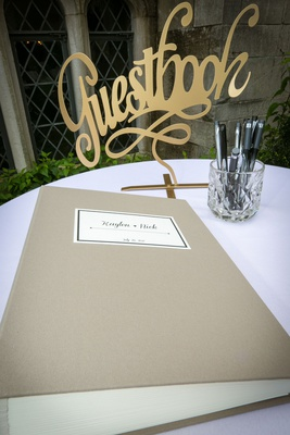 Gold cutout guest book sign golden decor champagne taupe guestbook