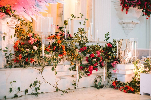 altar concept vines bold flowers organized chaos wedding ceremony bright colors