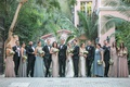 bride and groom with bridesmaids groomsmen mismatched dresses tuxedos hotel bel air