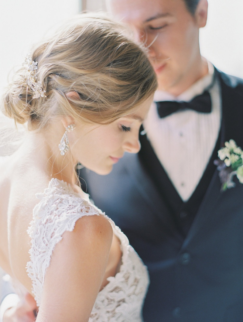 """Bride in """"Carla"""" from JINZA Couture Bridal 2016 Collection, Elizabeth Bowers hair comb, earrings"""