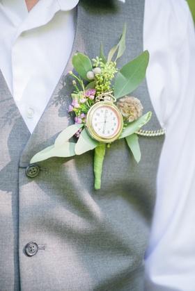 pocket watch greenery boutonniere pink flowers celtic wedding