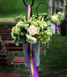 Shepherd hook wedding decorations with flower pail
