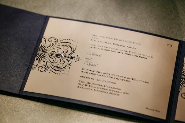 Dark grey folding wedding invite with rhinestone