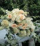 Rose and hydrangea altar decoration