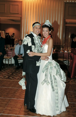 Bride and groom after Filipino money dance