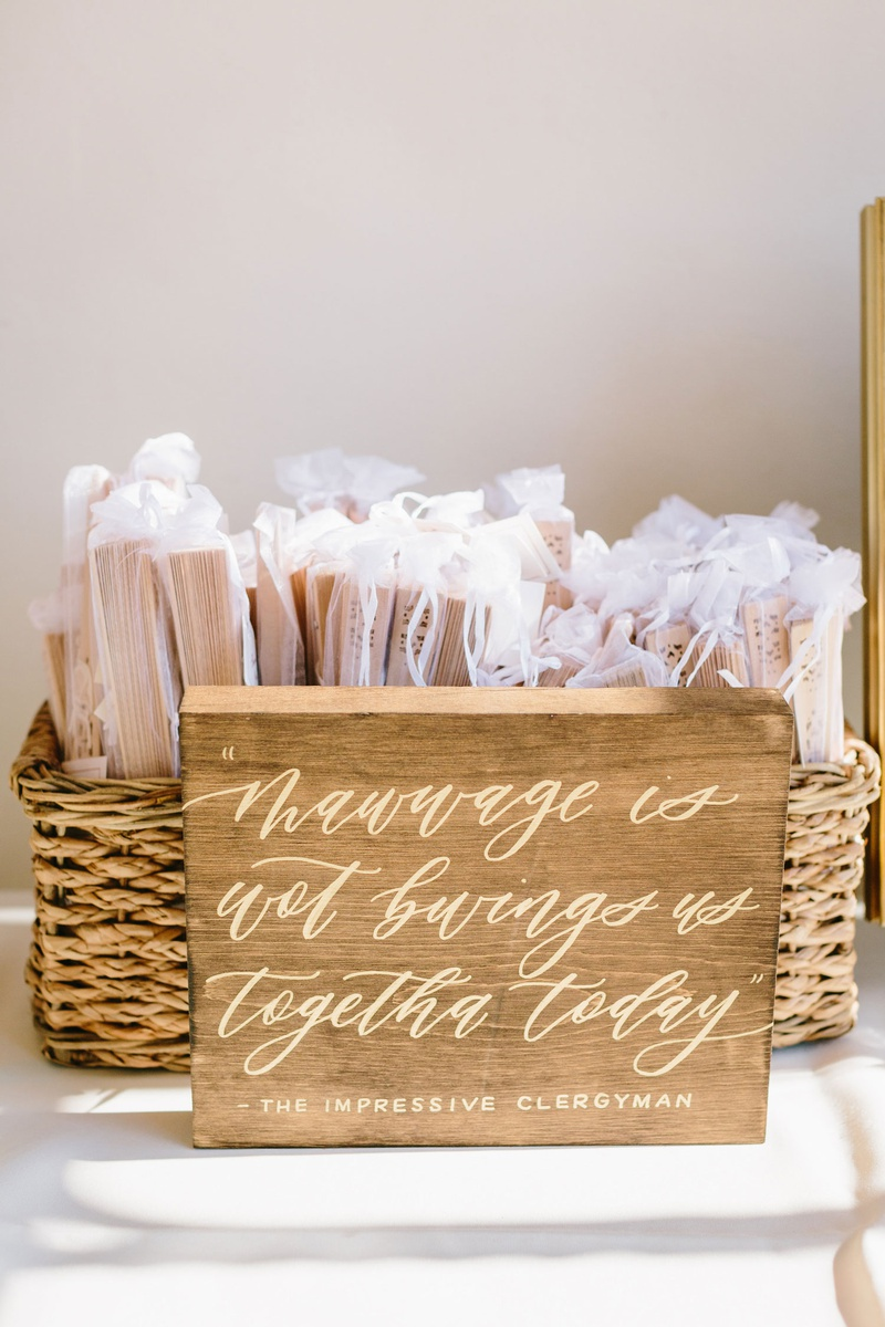 wedding ceremony favors wood fans in bags basket wood sign calligraphy quote princess bride movie