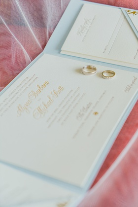 invitation suite trifold booklet in pale blue, embossed invitations, gold wedding rings