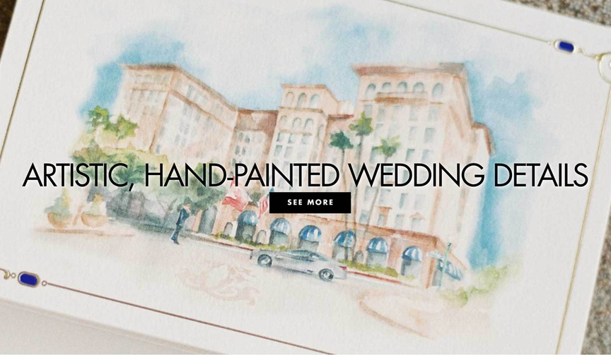 Artistic hand painted wedding details and decor ideas for pretty weddings