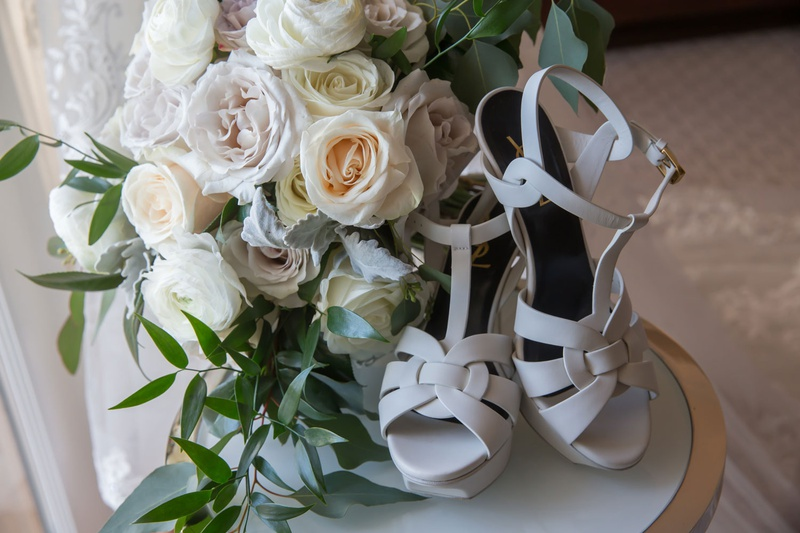 saint laurent wedding shoes with rose and garden rose bouquet t strap sandals peep toe ankle straps