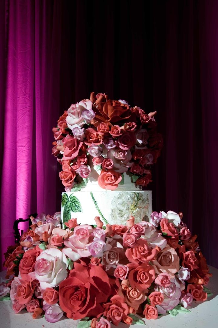Sylvia Weinstock cake with sugar roses and hand painted tier