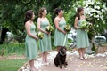 Bridesmaids in light green dresses with bouquets of green and white flowers, and dog