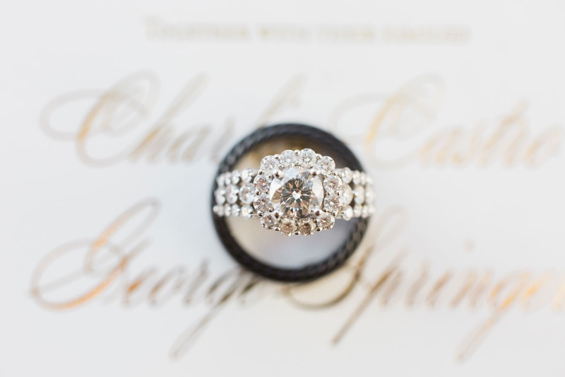 Charlise Castro and Houston Astros George Springer III wedding rings halo engagement ring