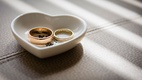 Wedding rings before wedding ceremony in heart shape ring holder dish tray wedding photo ideas