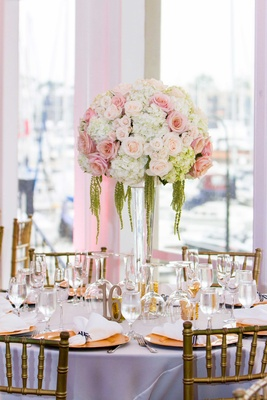 blush roses, white hydrangeas, amaranthus on clear vessel