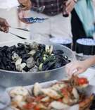 Clam bake food spread