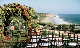 Wedding ceremony on ocean bluff at Bacara Resort & Spa