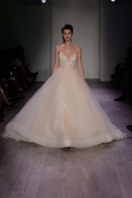 Lazaro Spring 2016 Champagne Spaghetti Strap Wedding Dress With Jewel Waistband And A Line Skirt