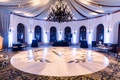 shane vereen nfl player wedding reception dancing ballroom drapery chandelier large monogram circle