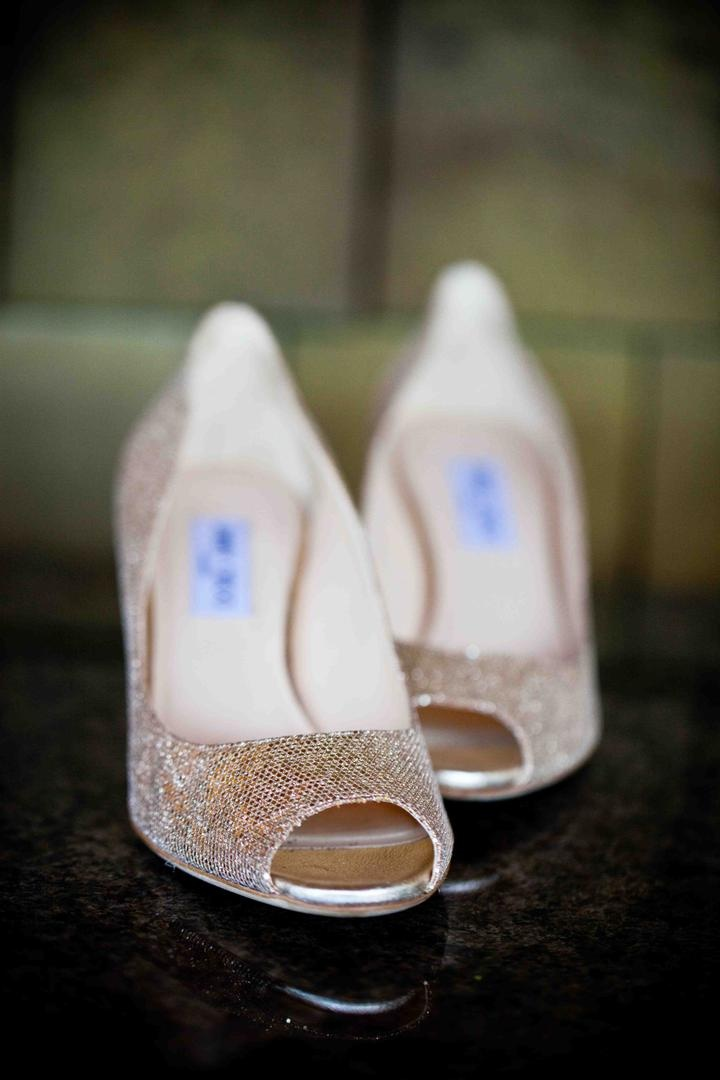 Gold Jimmy Choo wedding shoes