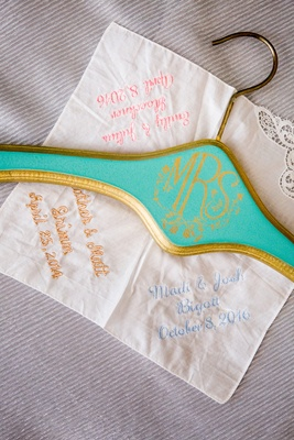 turquoise and gold mrs. hanger, embroidered handkerchief with sorority sisters wedding dates