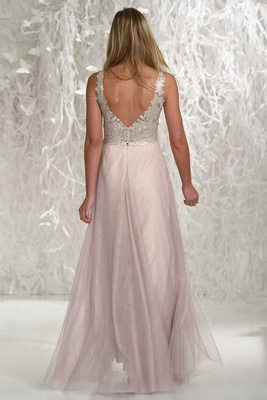 Wtoo Bridesmaids 2016 v-back bridesmaid dress with pink skirt and silver embroidery on bodice