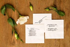 A brief history of bride and groom with important dates on napkin such as first date wedding date