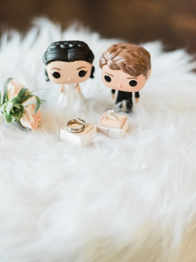 The Mrs. Box light pink velvet ring box with engagement ring men's band and wedding ring fur