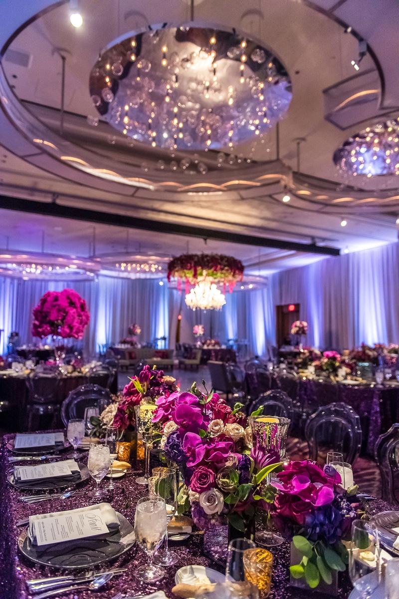 classy las vegas wedding reception, purple color scheme wedding
