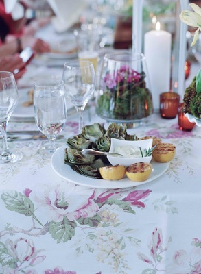 Rehearsal dinner garden party with artichoke and aioli