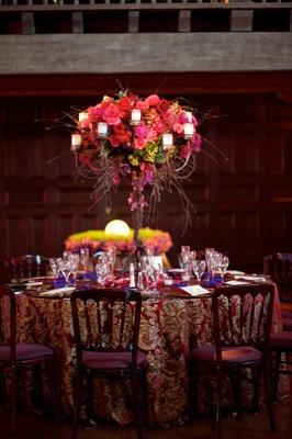 Bright wedding reception decoration table