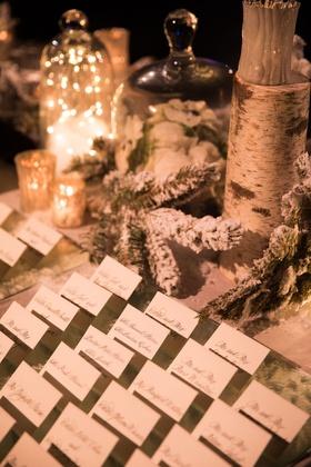 Wedding winter theme flocked snowy branches evergreen birch candles escort cards