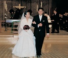 lea salonga wears monique lhuillier dress and walks with groom robert chien