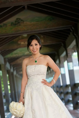 Chinese-American bride in wedding dress