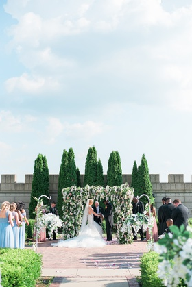 bride in galia lahav dress, castle wedding, spring colorss