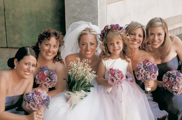 Flower girl and bridesmaid nosegays