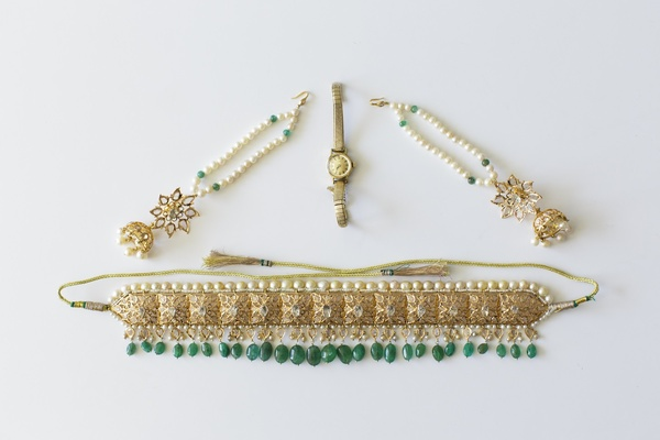 Gold and green wedding day belt and jewelry