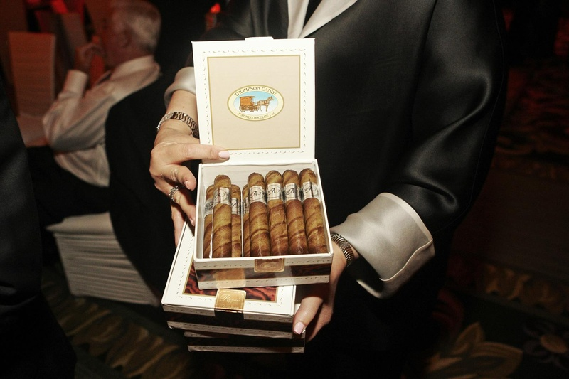 Chocolates in shape of cigars in cigar box