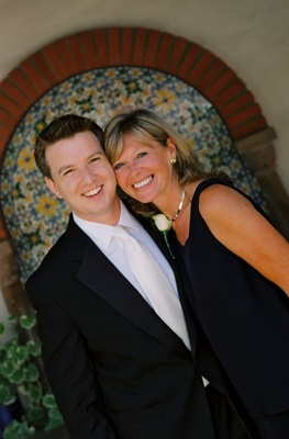 Groom with his mom in front of Ojai Valley Inn & Spa
