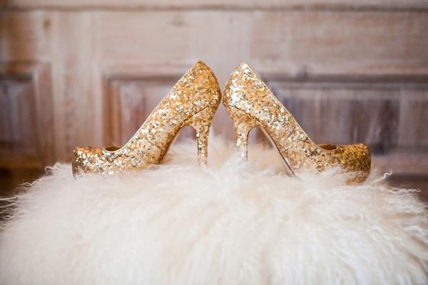 Gold Glitter Wedding Shoes On Faux Fur Pouf