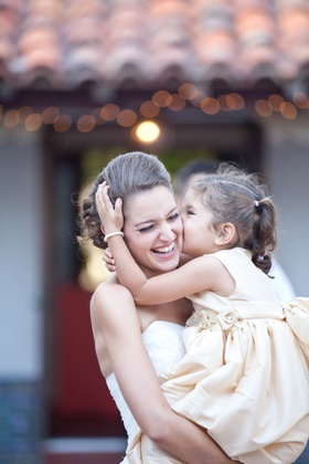 Bride and her flower girl at the Darlington House La Jolla CA