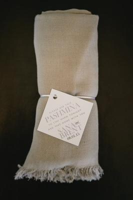 Tan blankets for guests, guest favors and gifts at california wedding