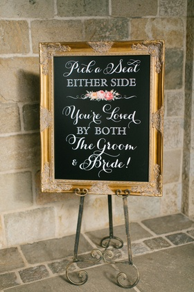 chalkboard wedding ceremony seating sign
