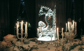 Seahorse ice sculpture on mirror stand