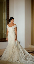 Courtney Mazza in Ines Di Santo wedding dress