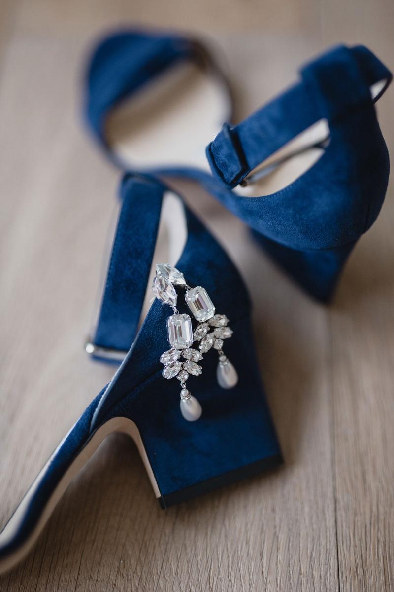 bright royal blue jimmy choo platform heel pumps ankle straps rhinestone diamond chandelier earrings