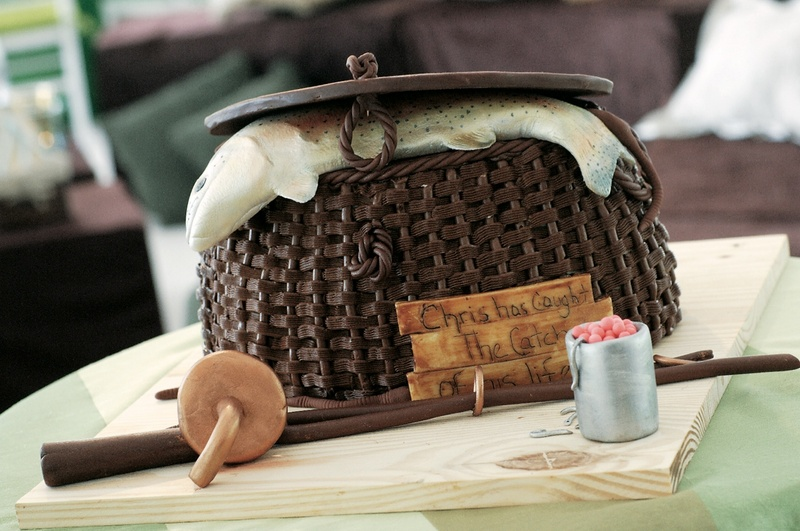 Groom's cake of fishing basket with fish and fishing pole