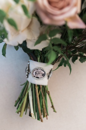 bouquet charms with photos of loved ones who had passed away