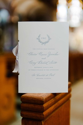 wedding ceremony program white program light blue script monogram grey silver ribbon