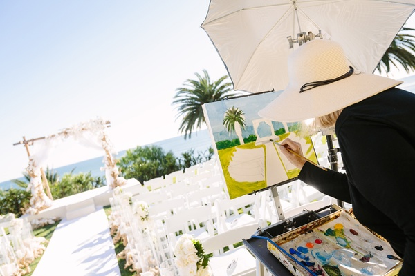 live event artist paints ceremony setting at bel-air bay club