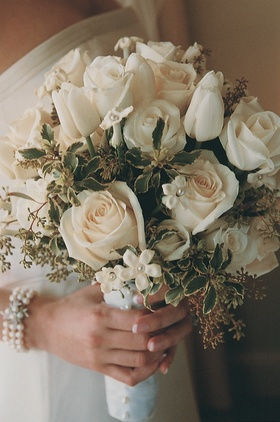 White rose, tulip, and stephanotis flowers